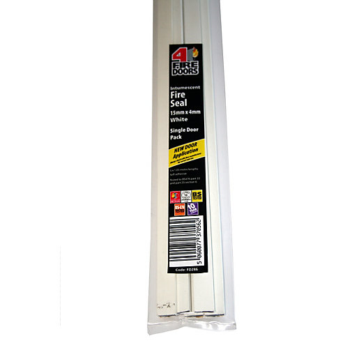 4Fire Intumescent Fire Seal White 15x4mm Single Door Pack - Pack of 5