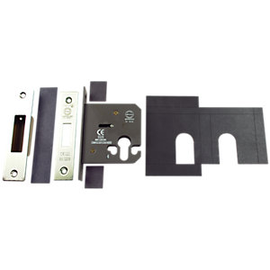 4FireDoorsDOORS Deadlock 76mm Euro Profile Includes Plates Stainless Steel - FD024