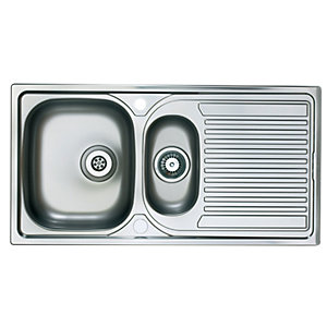Wickes 1.5 Bowl Reversible Kitchen Stainless Steel Sink & Drainer