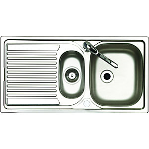 wickes kitchen sink wickes 1 1 2 bowl reversible kitchen sink with tap 1092