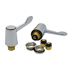 4 Trade 1/2in Lever Basin/Sink Tap Heads Chrome Plated