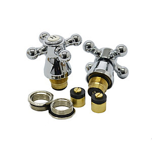 4TRADE 1/2in Cross Top Basin Tap Heads Chrome Plated