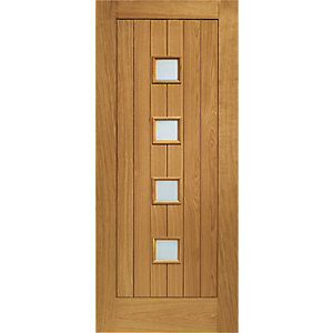 Siena Oak Double Glazed Obscure Glass External Door