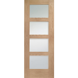 Internal Oak Pre-finished Shaker 4 Lite Door Obscure Glazed