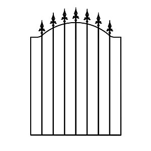 Burbage WASC Warwick spear top metal garden gate fits 920-990mm gap x 1076mm high galvanised and black powder coated