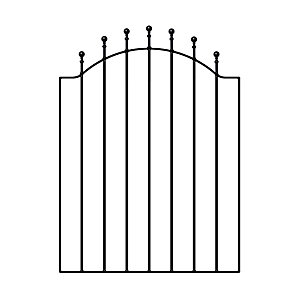Burbage WESC Weston ball top metal garden gate fits 920-990mm gap x 1041mm high galvanised and black powder coated