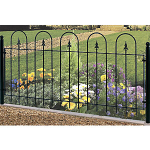 Burbage V01 Village hoop top metal green fence panel 914mm x 1830mm