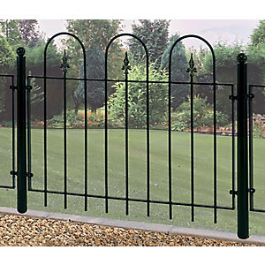 Burbage V02 Village hoop top metal green fence panel 914mm x 1143mm