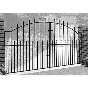 Burbage MA13 Manor ball top arched metal driveway gate fits 2438mm (8ft) gap x 915mm rising to 1220mm high black colour