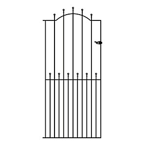 Burbage MA34 Manor ball top tall metal garden side gate fits 1067mm gap x 1943mm high black colour