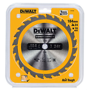 DeWalt Construction Circular Saw Blade, 184mm Diameter with A 16mm Bore and 18 Tct Teeth.""