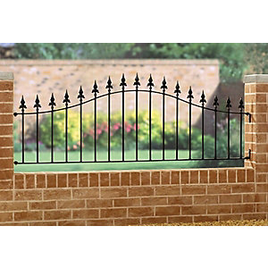 Burbage SA04 Saxon Arched ball top metal black railing panel 490mm-660mm x 1830mm