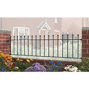Burbage MA03 Manor ball top metal black railing panel 455mm x 1830mm