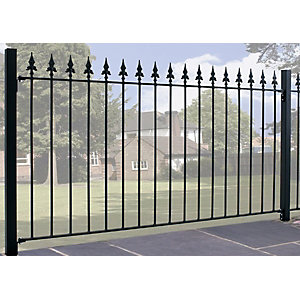 Burbage SA01 Saxon spear top metal black fence panel 950mm x 1830mm