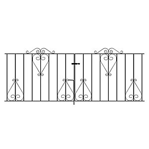 Burbage CD13 Classic scroll metal driveway double gate fits 2438mm (8ft) gap x 914mm high black colour