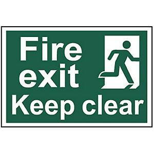 Spectrum 1513 Regular Size Fire Exit Keep Clear Sign