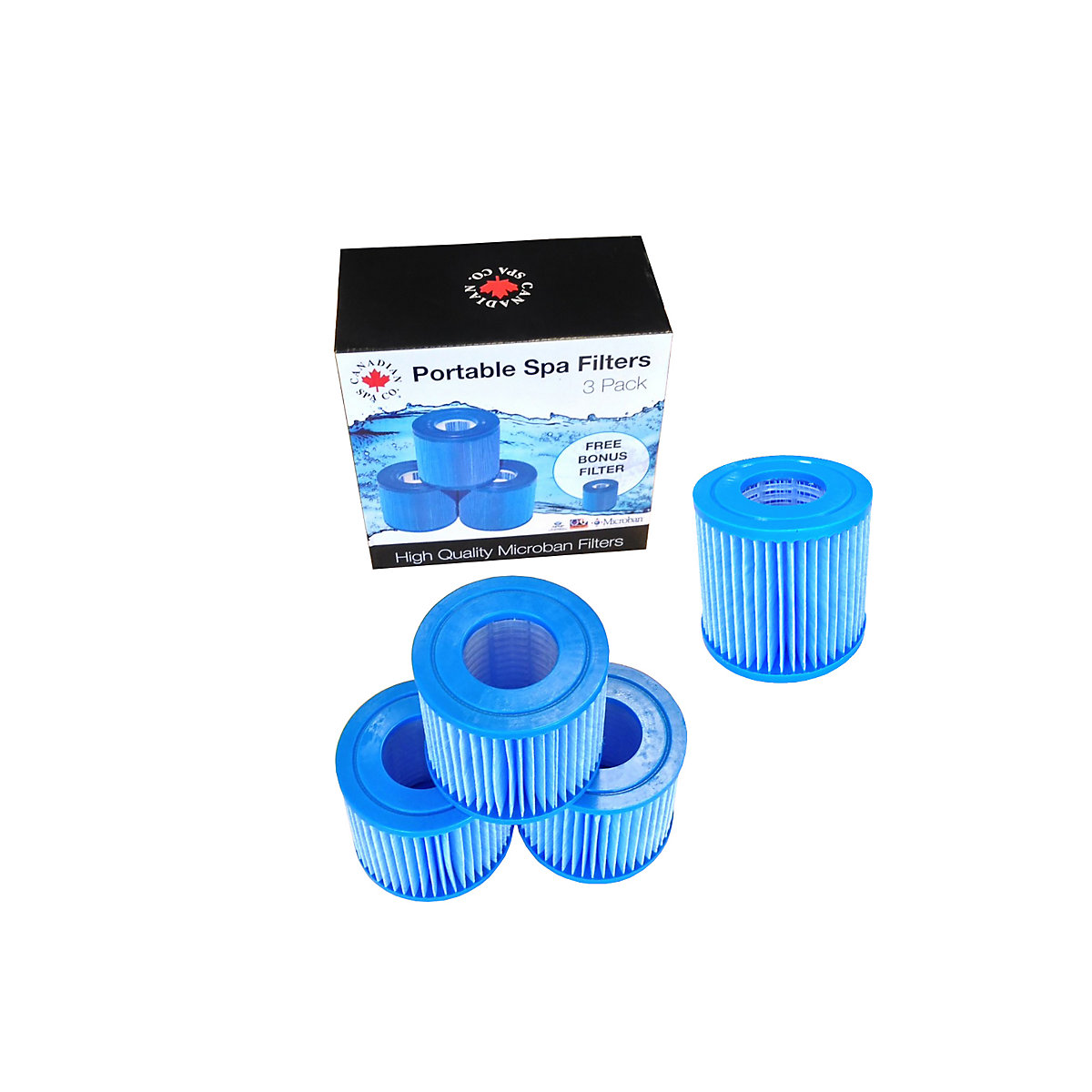 Canadian Spa Company Portable Microban Filters 4 Pack Travis For Hot Tub And Parts Spares Accessories Packs Equipment