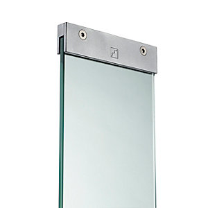 Glass Panel with Brackets 876mm x 150mm x 8mm