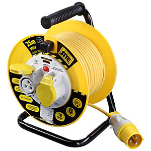 Masterplug 25m  x 2 110V Socket Cable Reel with Thermal Cut Out 16A