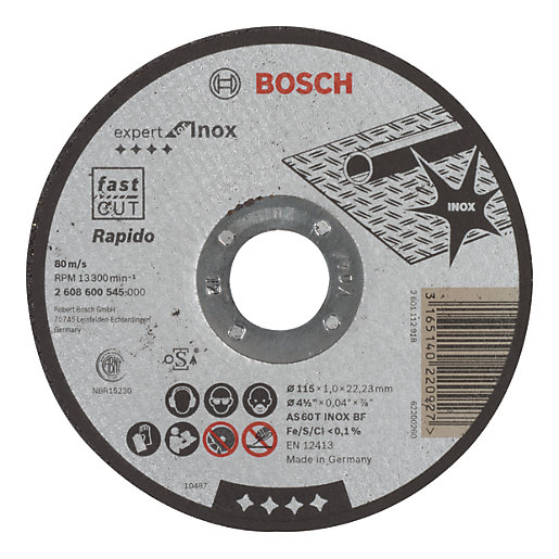 Bosch Cutting Disc Straight 115 x 22.2 x 1mm 2608600545