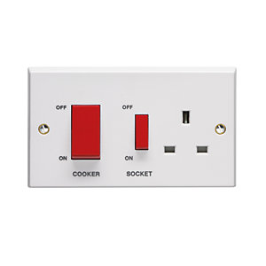 Volex VX9701 2gANG 45A Cooker Control Unit with 13A Switched Socket
