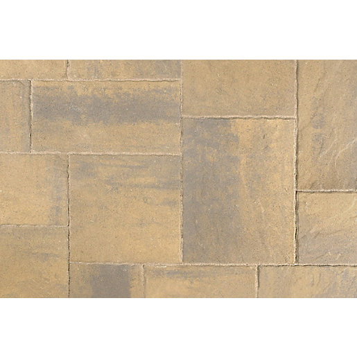 Tobermore Historic Concrete paving slabs Harvest Gold riven stone effect. Five sizes in one pack.
