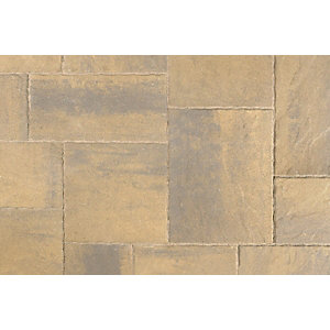 Tobermore Historic Concrete paving slabs Harvest Gold riven stone effect. Pack coverage 14.04m2.