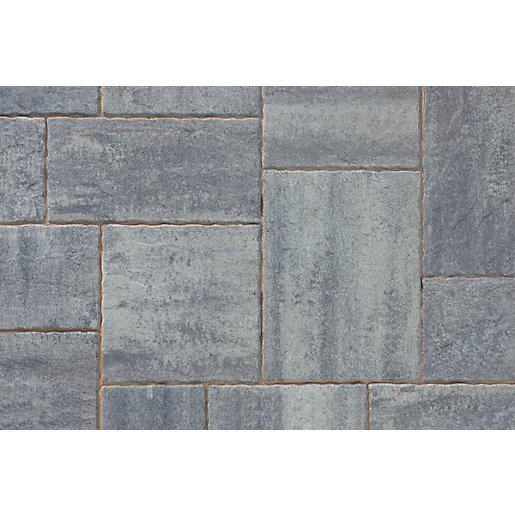 Tobermore Historic Concrete Paving Slabs Slate riven stone effect. Five sizes in one pack.