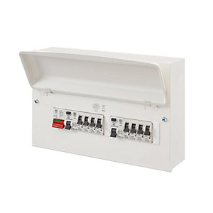 MK Metal 16 Way Consumer Unit K7665SMET Dual RCD + 8 MCB's