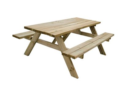 Forest Garden Large Rectangular Picnic Table Seats Travis Perkins - Picnic table seats 8