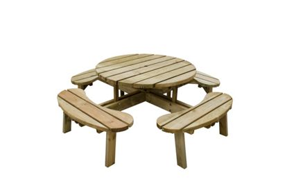 Forest Garden Premium Large Circular Picnic Table Seats CPT - Large round picnic table