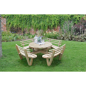 Circular Picnic Table with Seat Backs Pressure Treated 2460 x 820 x 2460mm