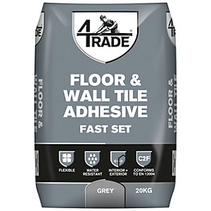 4TRADE Flexible Fast Set Floor + Wall Tile Adhesive Grey 20kg
