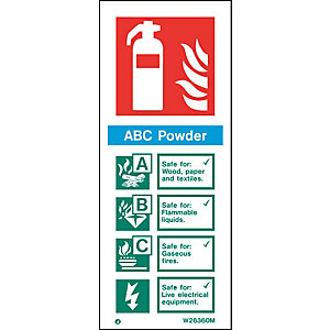 Fire Safety Abc Powder Extinguisher Sign