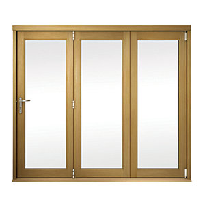 Slimline External Unfinished Oak Veneer Bifold Door Set