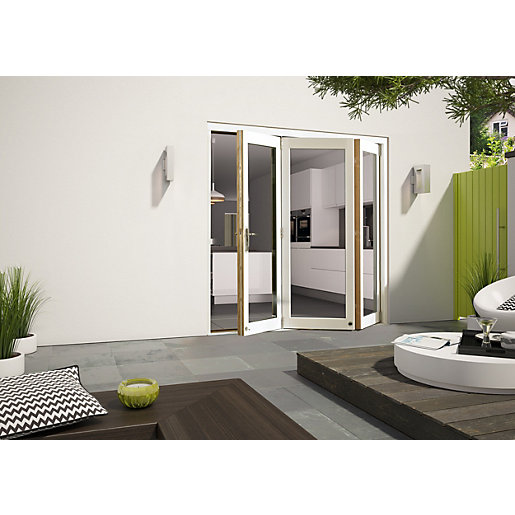 External Aluminium Clad White/Pre-Finished Oak Bifold Door Set 2990mm wide
