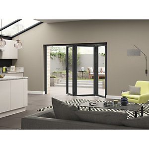 Aluminium External Grey Left Opening Bifold Door Set 2390mm wide