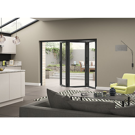 Aluminium External Grey Left Opening Bifold Door Set 2690mm wide