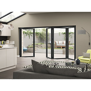 Aluminium External Grey Left Opening Bifold Door Set 3590mm wide