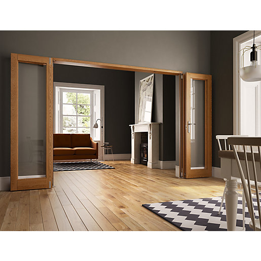Internal Unfinished Oak Door Fold Flat Room Divider 2390mm wide