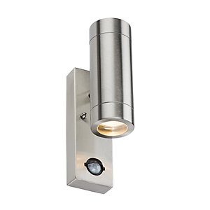 WALL4LSS 2 x GU10 Stainless Steel Up/Down Wall Light with PIR