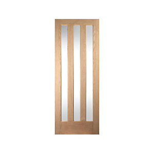 Oregon Aston 3 Light Clear Glazed Interior White Oak Door