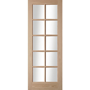 Oregon 10 Light Clear Glazed American White Oak Interior Door