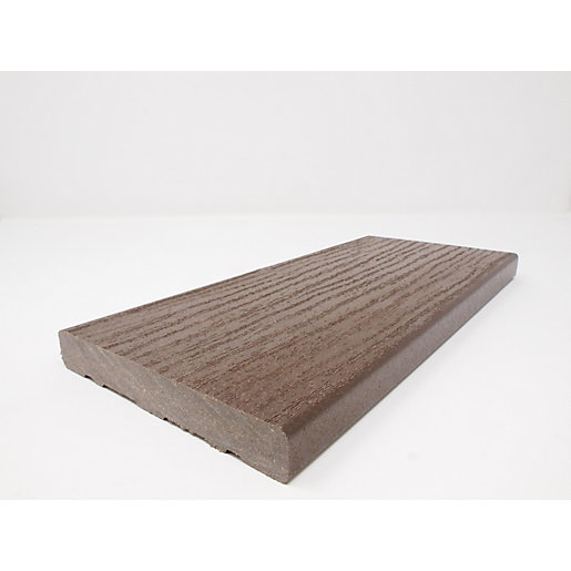 Ecodek Heritage Wood Grained Composite Decking Board 21 x 136 x 3600mm Pennine Millstone Dark Brown
