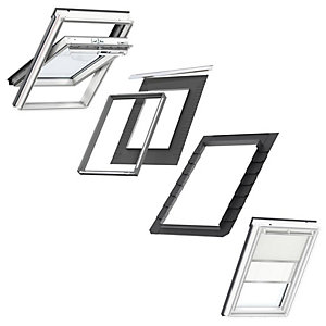 VELUX White Painted Centre Pivot MK04 Roof Window + Insulated Flashing + Beige Duo Blackout Blind