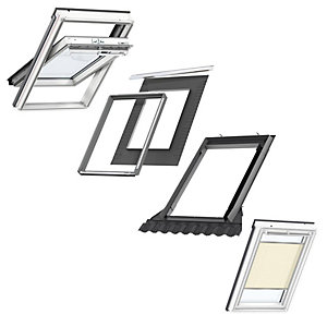 VELUX White Painted Centre Pivot PK08 Roof Window + Insulated Flashing + Beige Pleated Blind