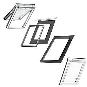 VELUX White Painted Top Hung MK08 Roof Window + Insulated Flashing + White Blackout Blind