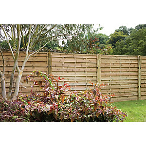 Pressure Treated Decorative Europa Plain Fence Panel 1.8m x 1.5m - Pack of 4
