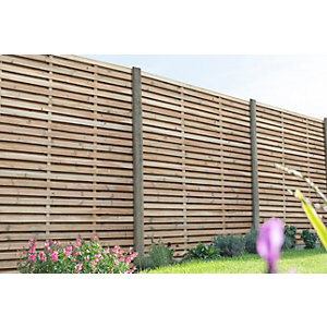 Pressure Treated Contemporary Double Slatted Fence Panel 1.8m x 1.8m - Pack of 3