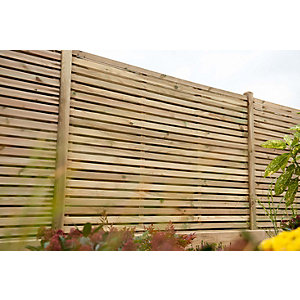 Pressure Treated Contemporary Double Slatted Fence Panel 1.8m x 1.8m - Pack of 5